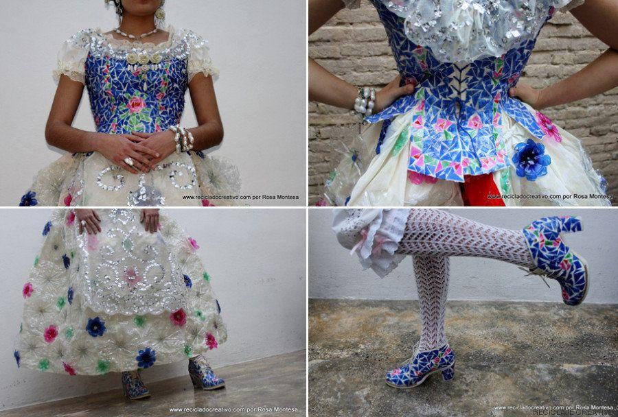 Este vestido de fallera está hecho con 180 botellas de plástico y 30 cápsulas de café