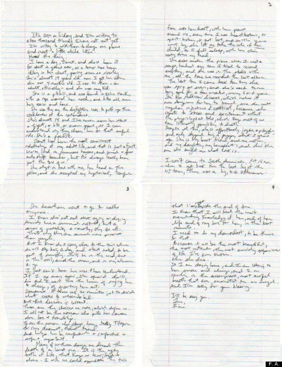 Fiona Apple escribe una carta de despedida a su perra como lección ante la muerte