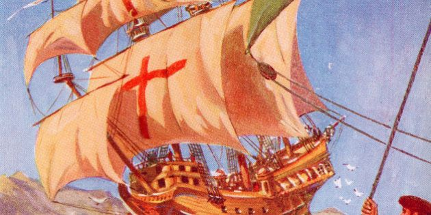 Christopher Columbus Leaves The Coast Of Spain In His Flag Ship The Santa Maria On His First Voyage To...