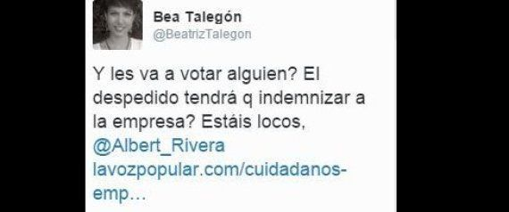 El tuit que Beatriz Talegón tuvo que borrar tras la respuesta de Albert