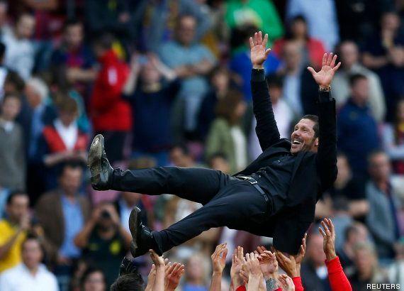 El Atlético de Madrid gana la Liga tras empatar (1-1) en el Camp