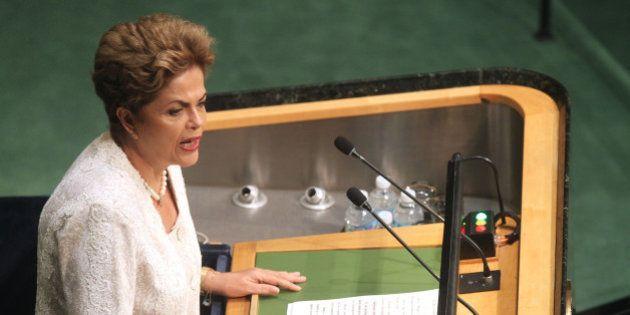 NEW YORK, NY - SEPTEMBER 28: President of Brazil Ms. Dilma Rousseff addresses the United Nations General...