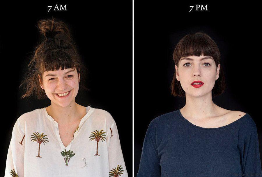 Una fascinante serie de fotografías muestra cómo la gente se transforma de la mañana a la
