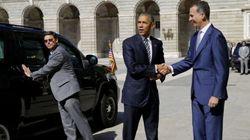 El Rey recibe a Obama a su llegada al Palacio