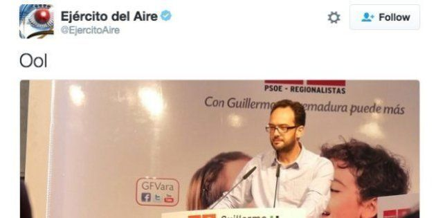 El extraño tuit del Ejército el Aire con la imagen de Antonio