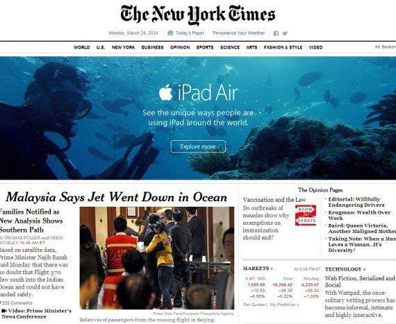 Anuncios desafortunados: el IPad bajo el agua y la noticia del avión malasio en The New York