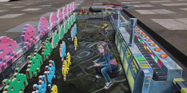 Arte en las aceras: Space Invader resucita en 3D