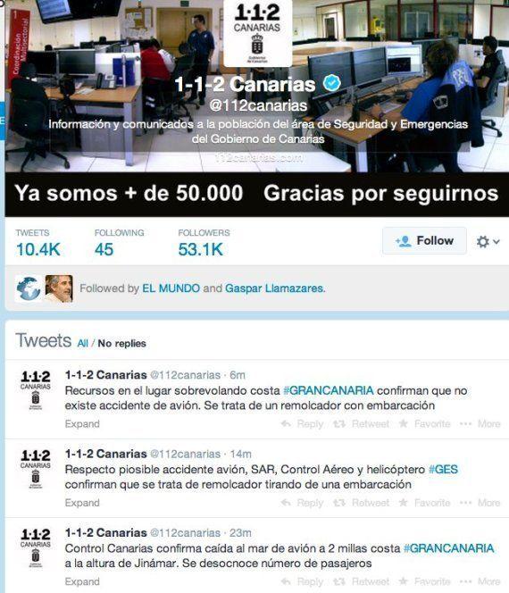 Falsa alarma: 112 de Canarias informa por error de un accidente aéreo en el