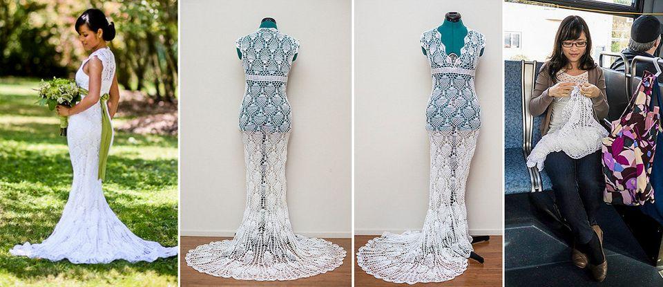 741adb9e14 El vestido de novia más barato  se lo hizo de ganchillo mientras iba a  trabajar