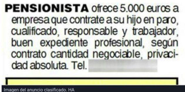Un pensionista pone un anuncio ofreciendo dinero a quien contrate a su