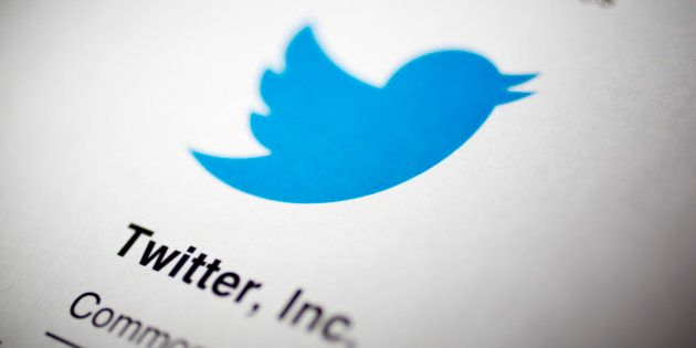 The Twitter Inc. logo is displayed on the company's preliminary prospectus arranged for a photograph...