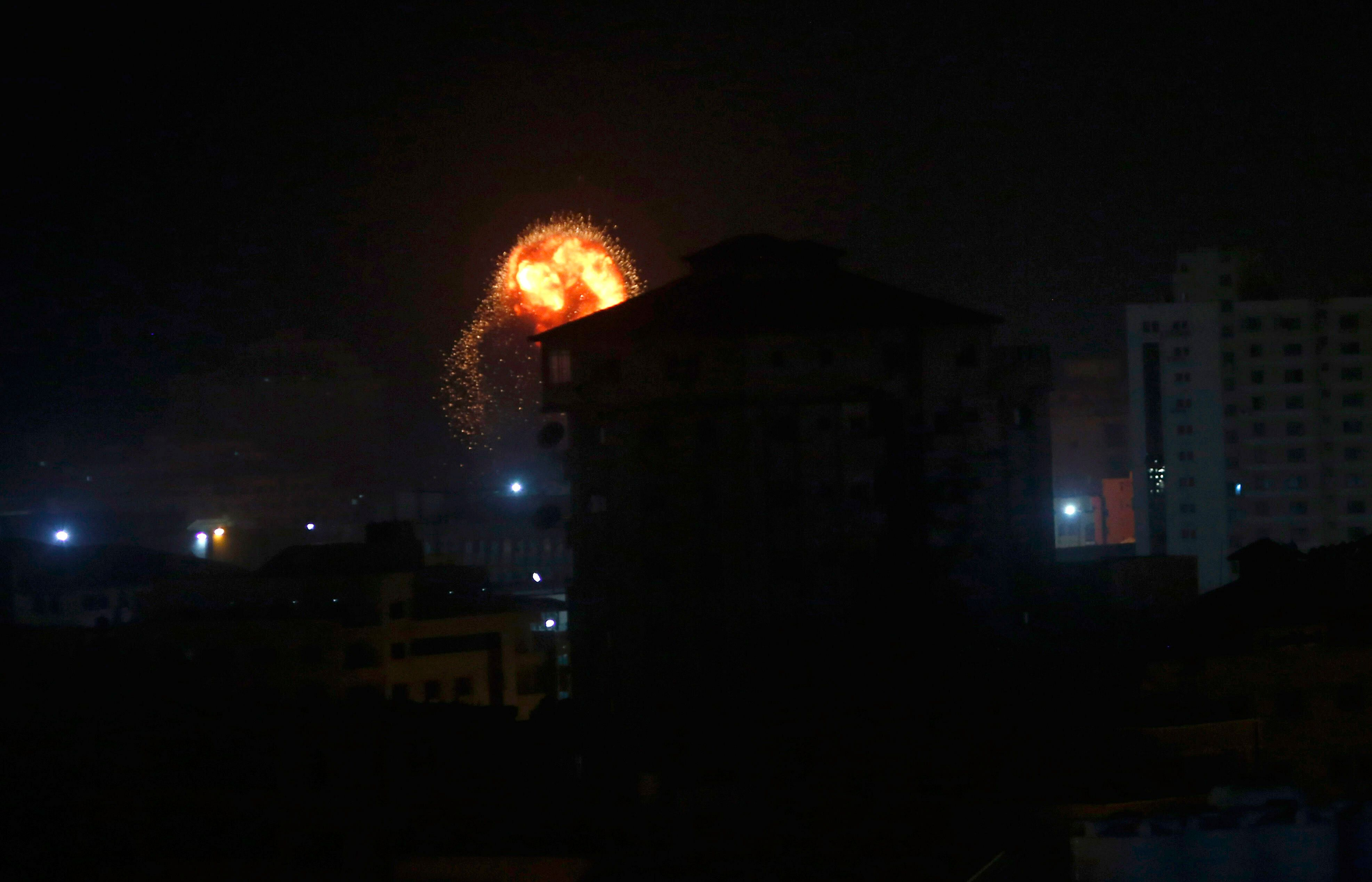"""The Israeli military said it had struck """"approximately 100 military targets"""" belonging to Hamas on Friday."""