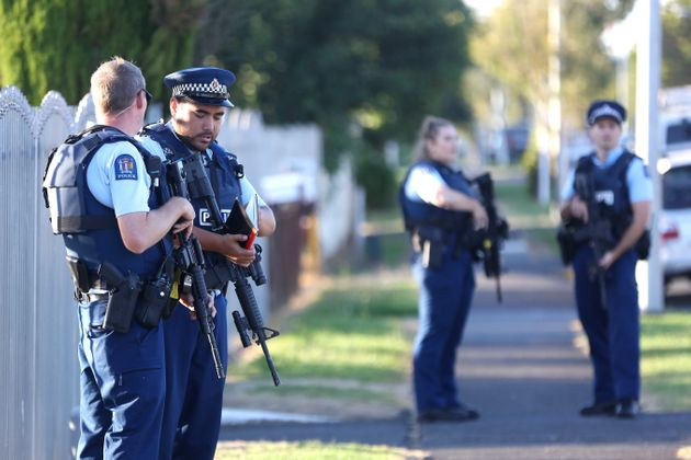 Armed police maintain a presence outside the Masijd Ayesha Mosque in Manurewa on March 15, 2019 in Auckland,...