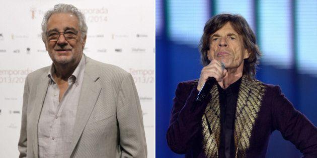 Mick Jagger vs. Plácido Domingo: el parecido entre dos septuagenarios de la música (FOTOS,