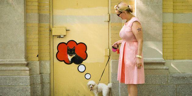 Arte callejero 'interactivo': las pegatinas de Katie Sokoler te siguen los pasos