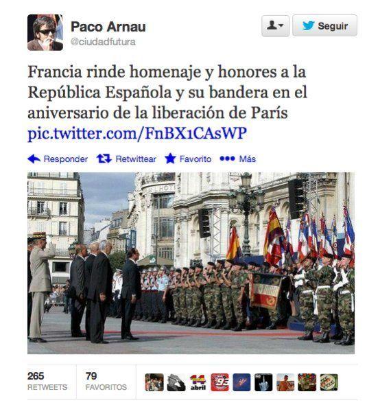 Hollande rinde homenaje a la bandera republicana española, que volvió a ondear en