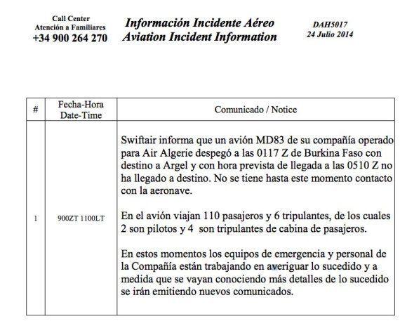 Vuelo AH5017: Se estrella un avión de Swiftair con 116 ocupantes, incluidos 6 tripulantes
