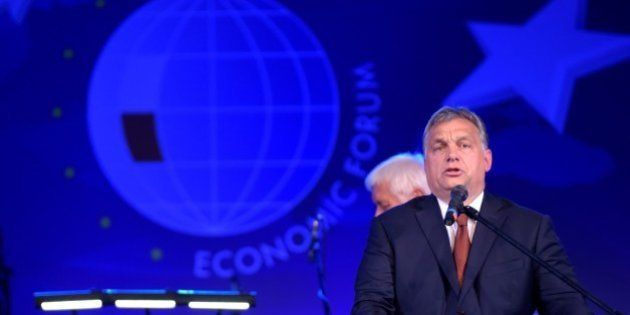 KRYNICA, POLAND - SEPTEMBER 06: The Hungarian Prime Minister, Viktor Orban gives a speech after he awarded...