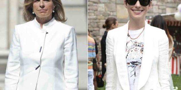 Ana Botella, Anne Hathaway, Letizia Ortiz, Mary de Dinamarca, Irina Shayk: el traje blanco para mujer...