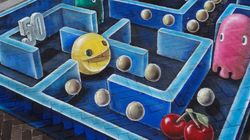 Un Pac-Man por los suelos (FOTOS,