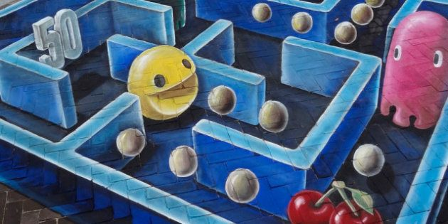 El Pac-Man, un grafiti por los suelos y en 3D obra de Leon Keer (FOTOS,