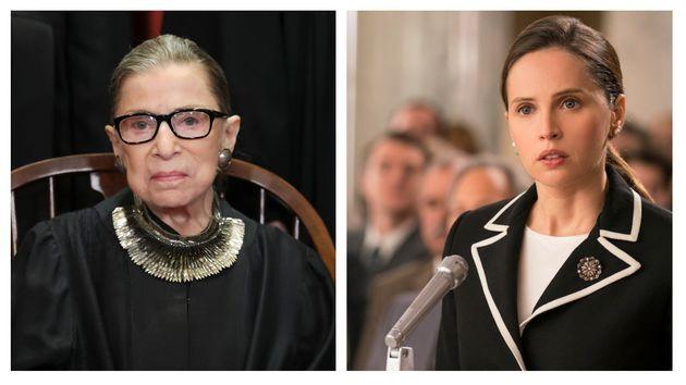 (写真左)いまも現役でアメリカ合衆国最高裁判所の判事を務めるルース・ベイダー・ギンズバーグ。(写真右)映画『ビリーブ