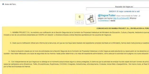 Cierra Vagos, uno de los foros de descargas más importantes de España, tras una denuncia de