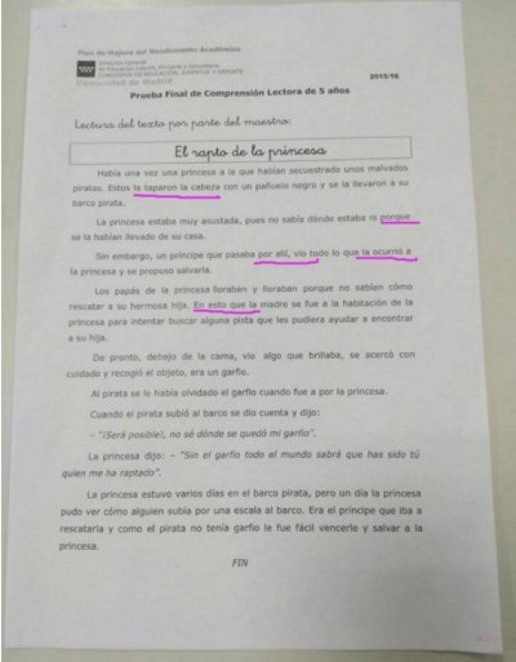 Madrid retira una prueba de Infantil enviada por error a los