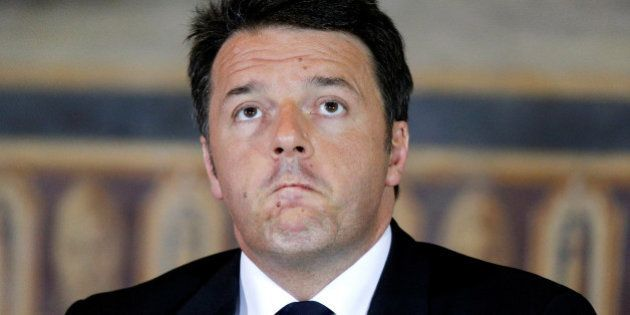 Italian Prime Minister Matteo Renzi looks on during a meeting at the Capitol Hill in Rome, Italy, May...