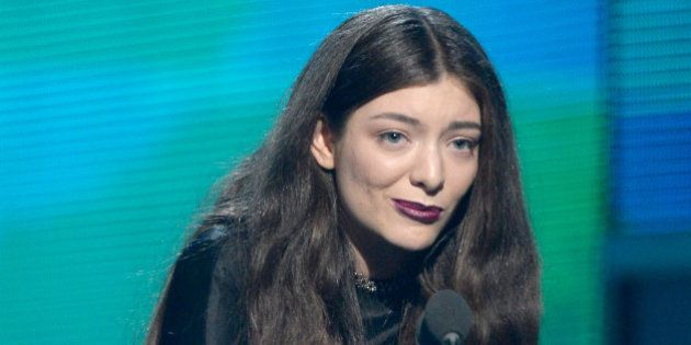 LOS ANGELES, CA - JANUARY 26: Musician Lorde accepts the Song of the Year award for 'Royals' onstage...
