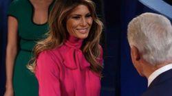 Melania Trump llevó al debate una blusa con un nombre