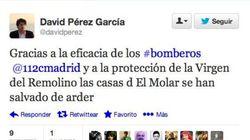 El alcalde de Alcorcón agradece en Twitter a la Virgen la protección ante un