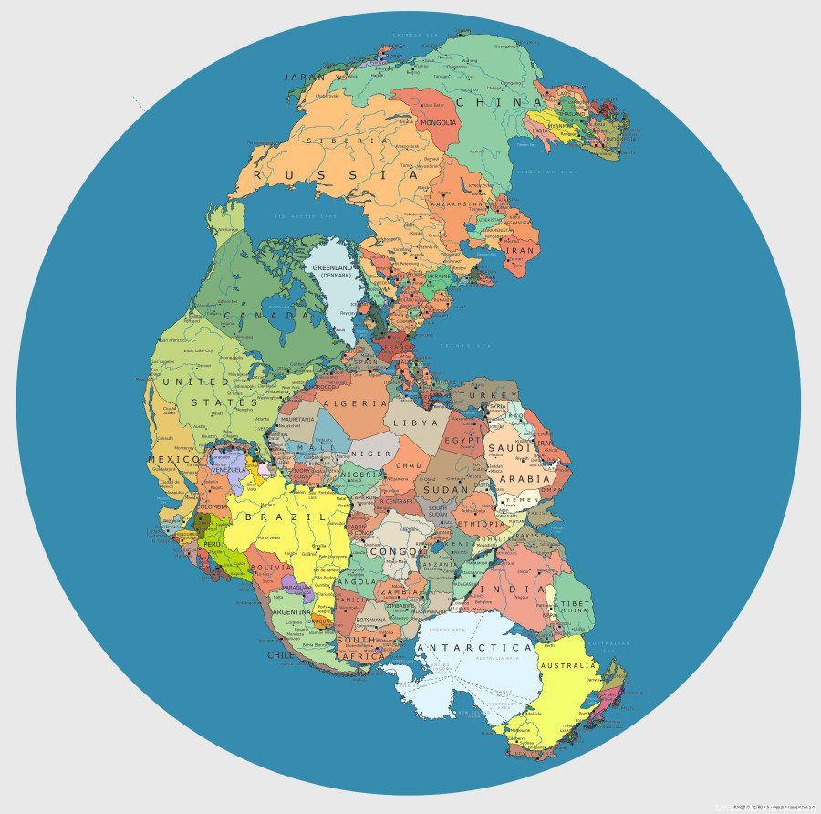 Pangea: así sería el mundo unido por sus fronteras