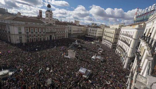 Las imágenes aéreas de la marcha de Podemos