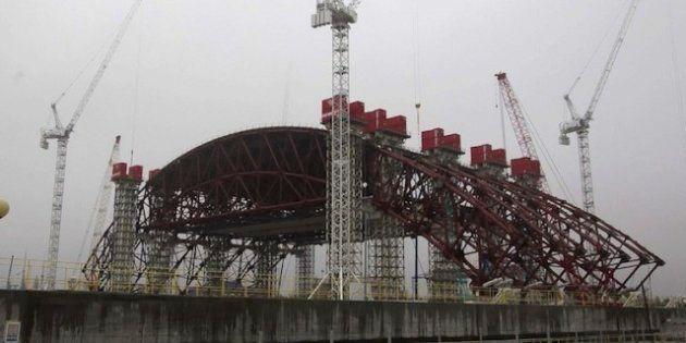 Nuevo sarcófago de Chernóbil: las 20.000 toneladas de acero van tomando forma