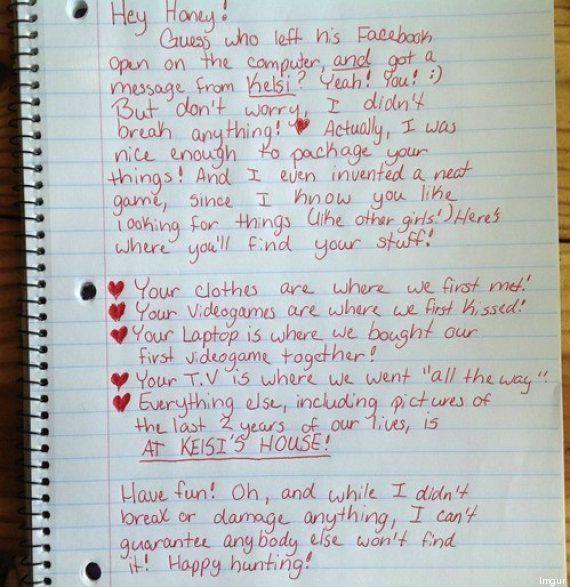 Una mujer deja a su novio tras descubrir una infidelidad y le propone un juego para encontrar sus objetos...