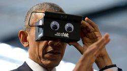 Obama se pone unas gafas de realidad virtual e internet