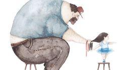 Ilustraciones que plasman la relación que querría haber tenido la autora con su