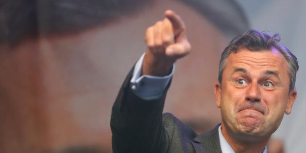 Austrian far right Freedom Party (FPOe) presidential candidate Norbert Hofer arrives for his final election...