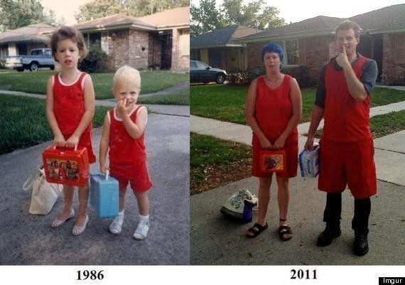 10 humillantes imágenes de gente repitiendo sus poses infantiles