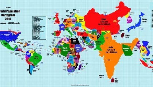 El mapamundi cambiaría mucho si reflejara cuántos habitantes tiene cada país