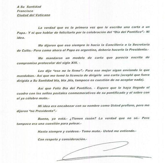 La peculiar carta de Cristina Fernández al Papa Francisco: