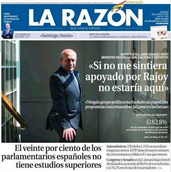 Wert en la portada de 'La Razón': cachondeito en Twitter con su