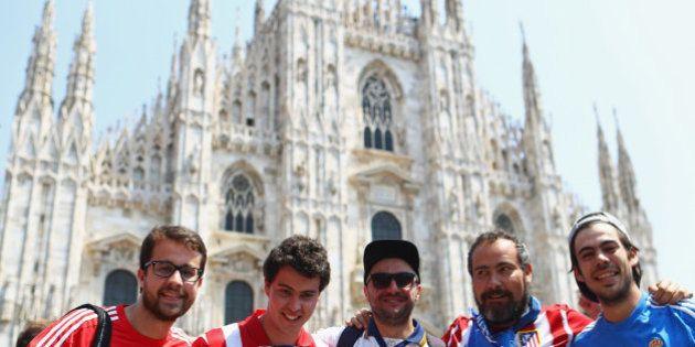 Las aficiones de Madrid y Atlético toman Milán