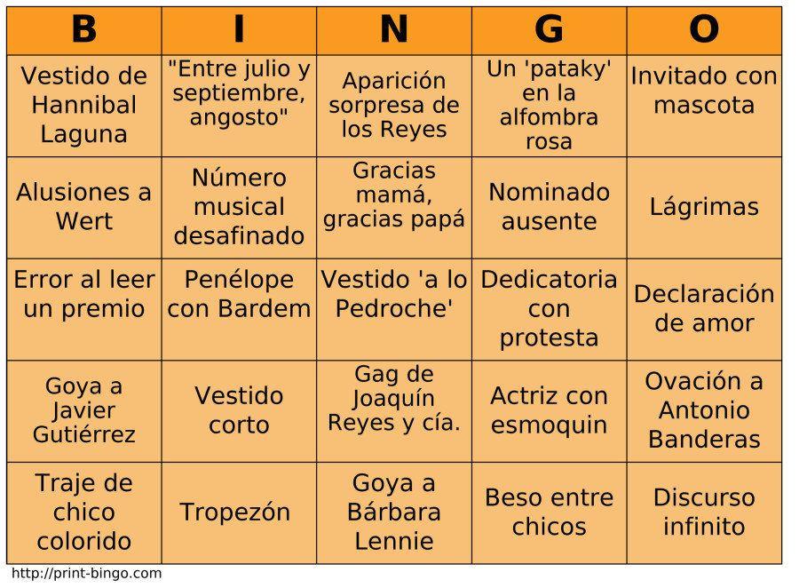 El Bingo de los Goya 2015: imprímelo y juega con tus