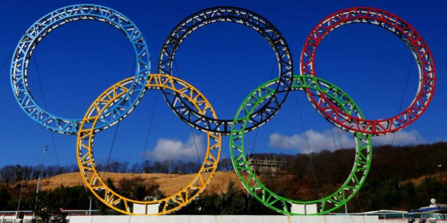 ADLER, RUSSIA - JANUARY 08: The Olympic Rings stand outside of Sochi International Airport on January...