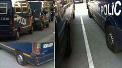 Pinchan las ruedas de 30 furgones de Policía antes de las