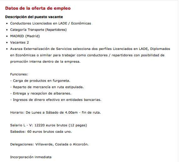 Se busca en Murcia licenciado en Dirección y Administración de Empresas para repartir