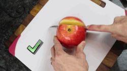 No estás cortando la manzana como deberías