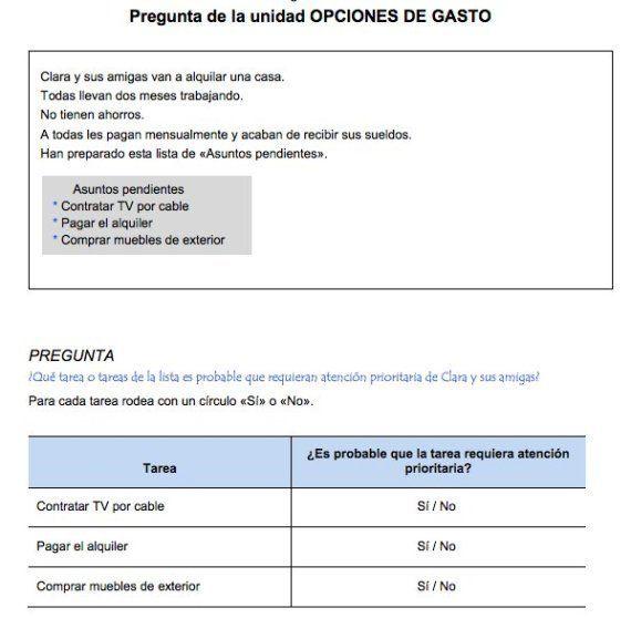 Preguntas PISA economía doméstica: